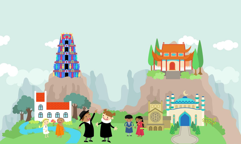 illustration-illustrator-tegning-tegner-religion-kristendom-buddisme-malene-hald-folkeskolen-undervisning-1